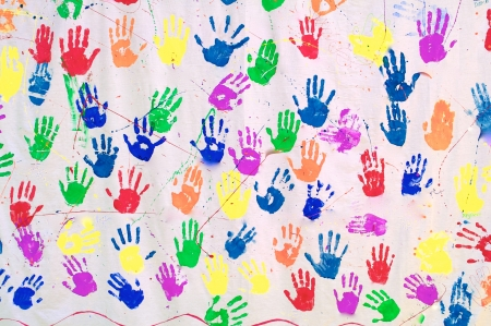 Handprints in Different Colors Stock Photo - 24044008
