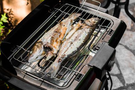 salmo trutta: preparing food at home Stock Photo