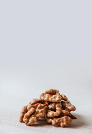 Walnut kernels on table. Walnuts.