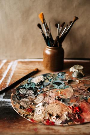 Artist's workshop. Brushes and palette.