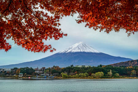 forground: Fuji Mountain with the Kawakuchigo Lake in forground. Stock Photo