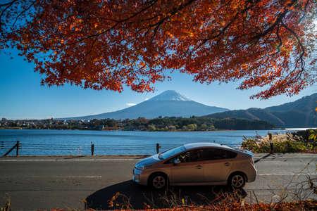 Fuji Mountain with the Kawakuchigo Lake in forground. Stock Photo
