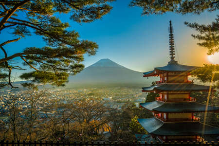 Mt fuji with red pagoda in autumn, Fujiyoshida Japan