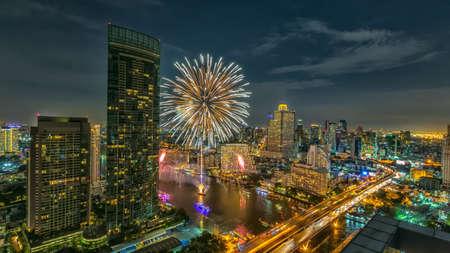 river scape: City scape on Chaopraya river, Bangkok, Thailand