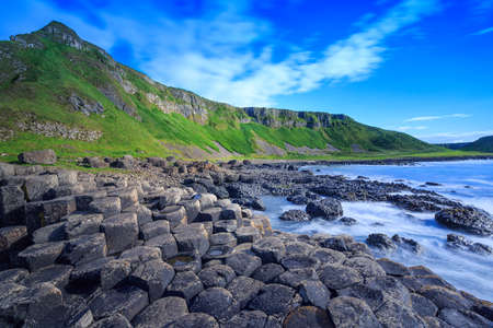 giants: The nature hexagon stones at the beach called Giants Causeway, the landmark in  Northern Ireland. Stock Photo