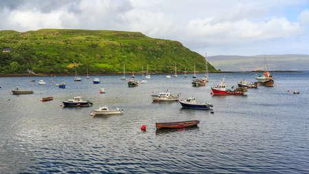 skye: view on Portree bay, Isle of Skye, Scotland, UK