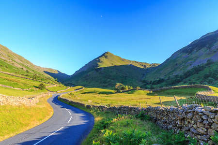 newlands: Countryside road in the mountain to Lake District, England