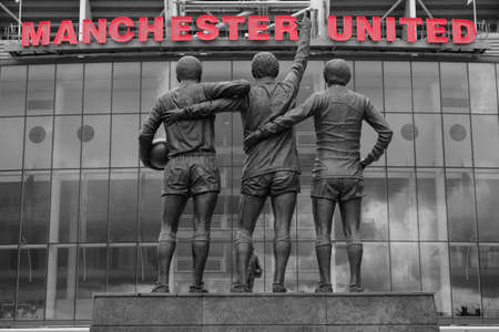 MANCHESTER, ENGLAND - July 6, 2014  : Old Trafford stadium is base to Manchester United,  the world famous football teams.