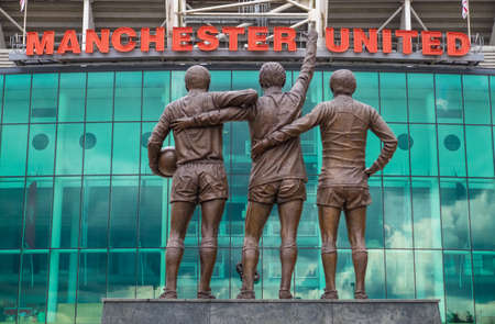 stadia: MANCHESTER, ENGLAND - July 6, 2014  : Old Trafford stadium is base to Manchester United,  the world famous football teams.