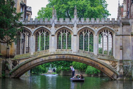 CAMBRIDGE, UK - JULY 11, 2014 : The Bridge of Sighs in Cambridge is a covered bridge at St Johns College, Cambridge University.