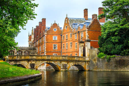 Cam Canal of Cambridge University view, England.
