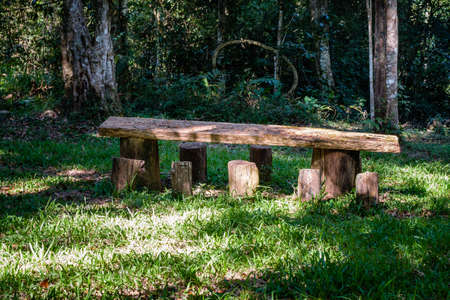 lough: Old wood long table made with lough wood stands in the garden, at the Nam Nao National Park, Thailand.