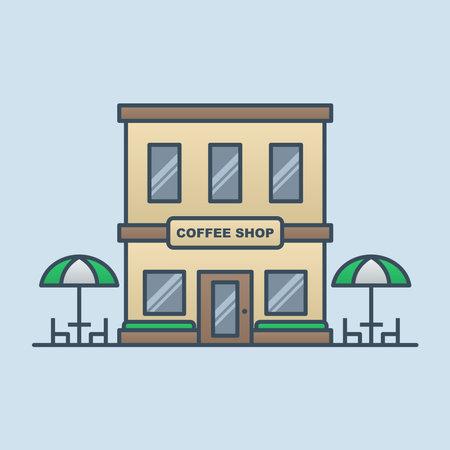 Coffee shop building vector icon illustration