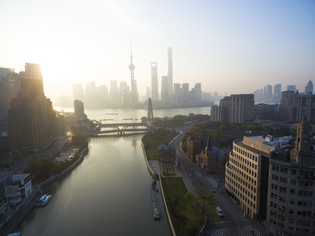 aerial view of  Lujiazui shanghai China Cityscape in the morning