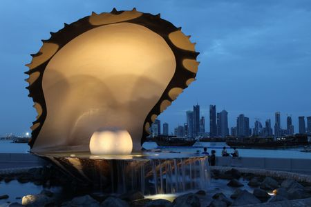 The pearl and oyster fountain in Doha  Qatar