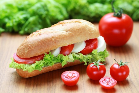 Closeup of a fresh sandwich with mozarella and tomatoes