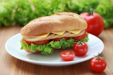 sub: Closeup of a fresh sandwich with turkey, cheese and tomatoes