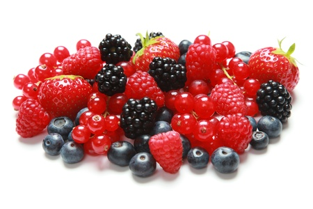 red currants: Strawberries, bilberries, red currants, raspberries and blackberries isolated on a white background