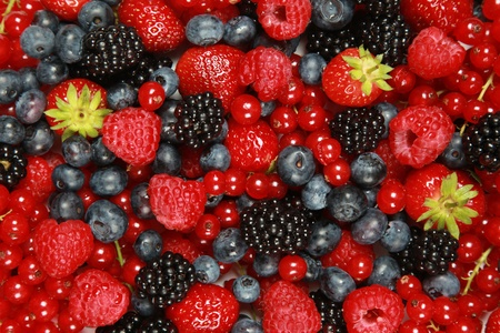 berries: On a table are lying strawberries, bilberries, red currants, raspberries and blackberries Stock Photo