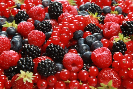 red currants: On a table there are strawberries, bilberries, red currants, raspberries and blackberries