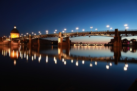 The Pont Saint-Pierre in ToulouseFrance goes over the Garonne river.