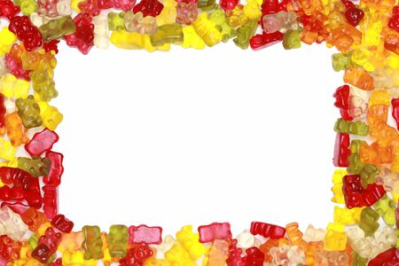 Gummy: Close-up of delicious colorful gummy bears forming a frame.