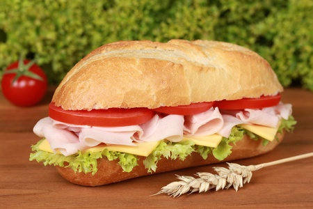 Closeup of a fresh sandwich with ham, cheese and lettuce photo