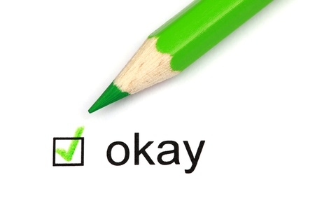 permission: Check mark with the word okay, and a green crayon