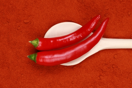 A wooden spoon with red pepper on paprika powder photo