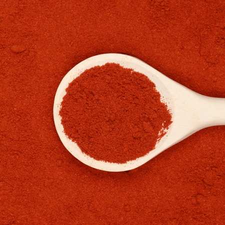 A wooden spoon lies on paprika powder as background photo