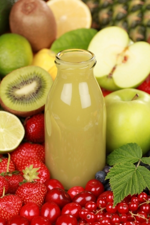 A bottle of kiwi and green apple smoothie surrounded by fresh fruits Stock Photo - 14472606