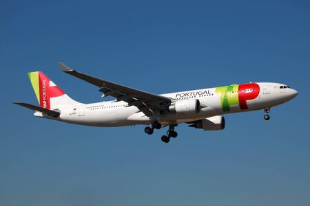 Lisbon, Portugal - February 25, 2012: A TAP Portugal Airbus A330 with the registration CS-TOP approaches Lisbon airport (LIS). TAP Portugal is Portugals flag carrier with some 55 planes and 9.75 million passengers in 2011.