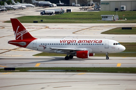 Fort Lauderdale, Florida - May 10, 2012  A Virgin America Airbus A319 taxis at Fort Lauderdale Airport in Florida  Virgin America is a low-cost carrier based at San Francisco International Airport  In 2012 it had a fleet of 51 Airbus aircraft