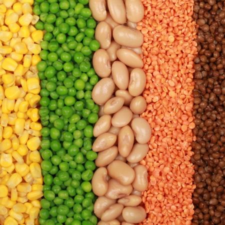 leguminosas: Los frijoles, las lentejas, los guisantes y el maíz en una fila
