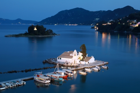 corfu: View over the Vlacheraina monastery and mouse island on Corfu in Greece  Editorial