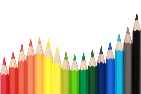 turnover: Colored crayons in a row forming a wave