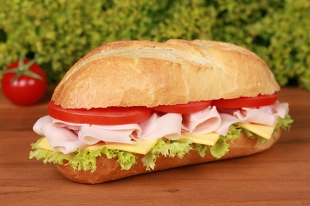 Fresh sub with ham, tomatoes, lettuce and cheese photo