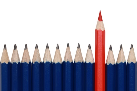 alone in crowd: Blue pencils and one red crayon standing out from the crowd. Isolated on white.