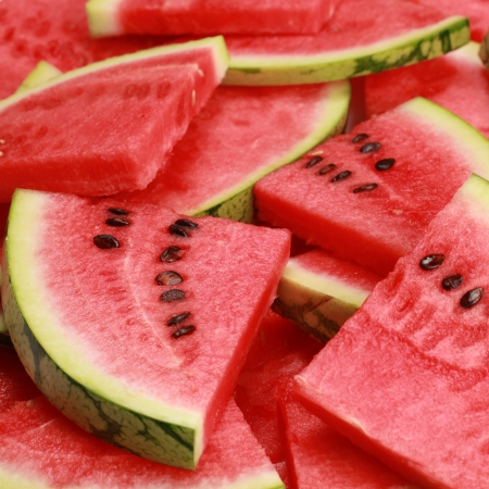 watermelon: Close-up of fresh slices of red watermelon