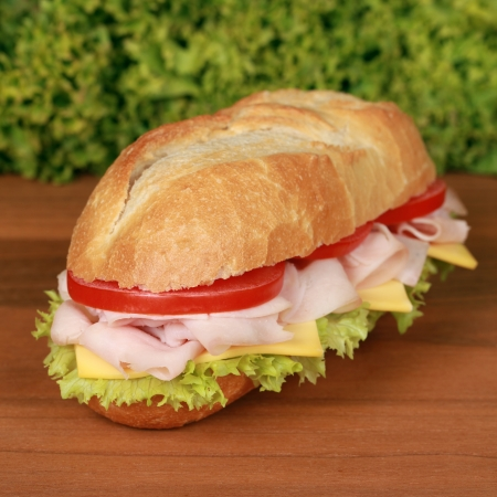ham sandwich: Sandwich with ham, tomatoes, lettuce and cheese