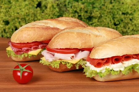 Sandwiches with ham, salami and smoked salmon photo