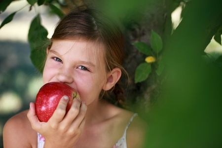 happyness: Young girl eating an apple under an apple tree. Shallow depth of field.