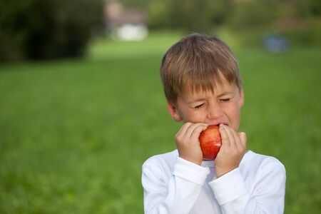 Child eats an apple on a meadow. Shallow depth of field. photo