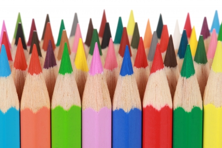 행의 색깔 된 연필의 컬렉션 스톡 콘텐츠