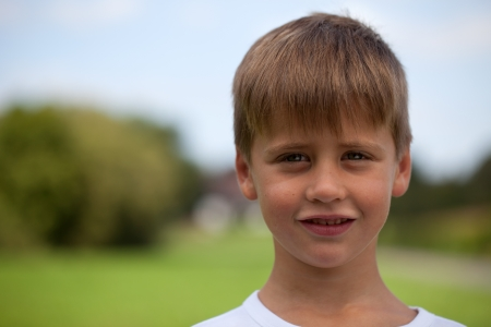 Portrait of a young boy with copy space photo