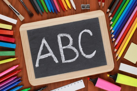 The letters ABC on a blackboard at school photo