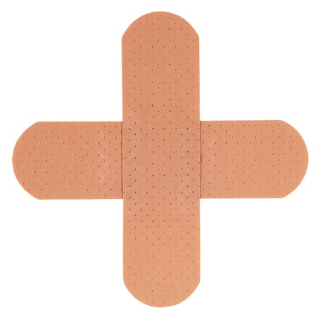 bandaid: Patch in shape of a plus, isolated on white background