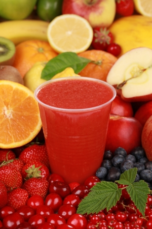 Freshly squeezed healthy smoothie from red fruits in a cup Stock Photo - 17078530