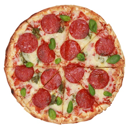 pepperoni pizza: Sliced Pepperoni Pizza, isolated on white background