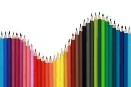 Crayons de couleur formant un schéma avec la forme d'une vague